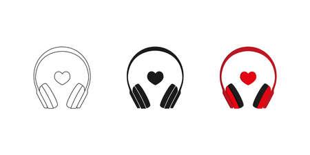 Headphones. Set. Three options. Icon. Editable. Vector Illusztráció