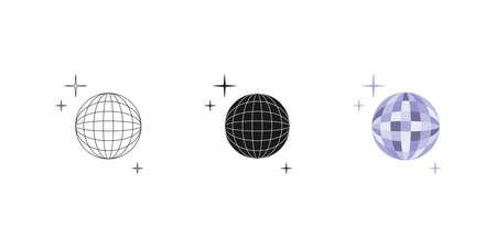 Disco ball. Set. Three options. Icon. Editable. Vector