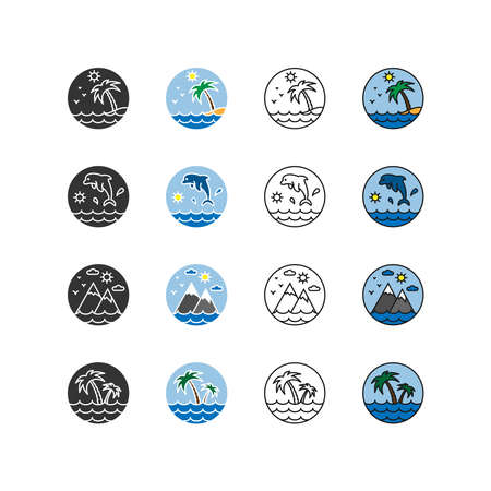 Nature, vacation, camping. Set of icons. Flat design style. Editable stroke