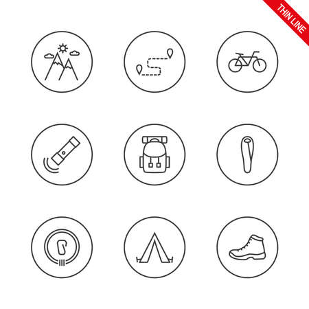Camping. Universal icons set. Vector. Thin line.