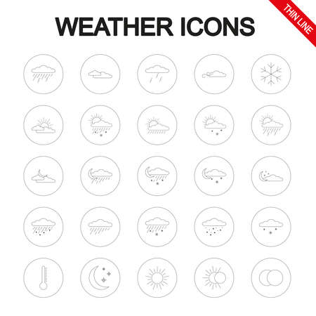 Weather. Universal icons set. Vector. Thin line.