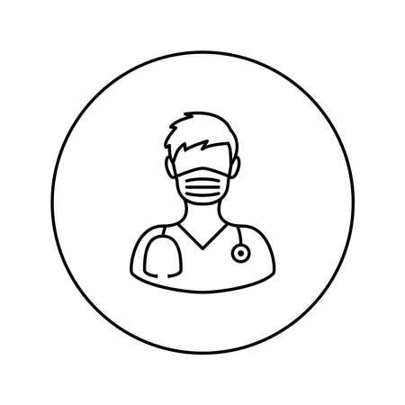 Medical worker. Man. Universal Icon. Vector. Thin line. Illusztráció