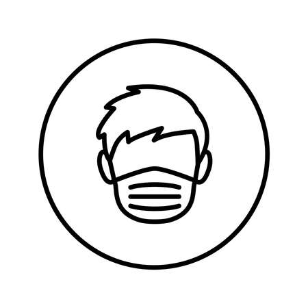Man face in a medical mask. Universal Icon. Vector. Thin line.