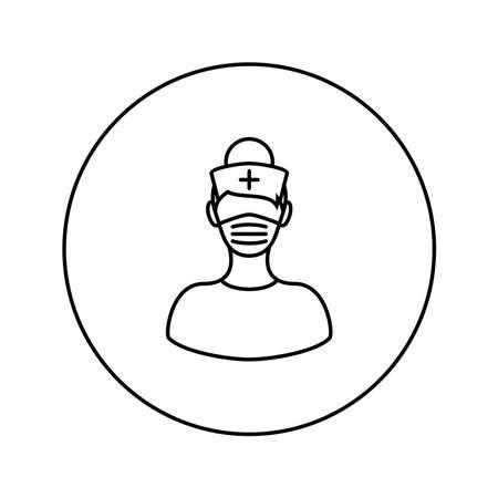 Medical worker. Woman. Nurse. Universal Icon. Vector. Thin line. Illusztráció