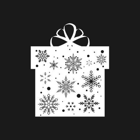 Snowflake Gift Box. Christmas and New Year. Vector illustration. Flat design Illustration