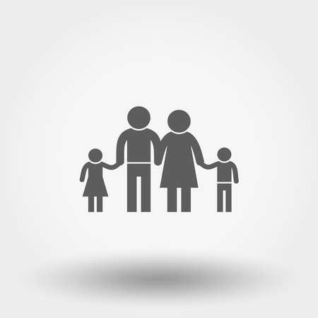 Family icon. Silhouette. Vector illustration. Flat design style. Illustration