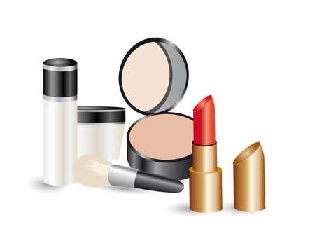 make up brush: Makeup products Illustration
