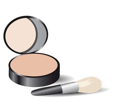 make up brush: Productos de maquillaje Vectores