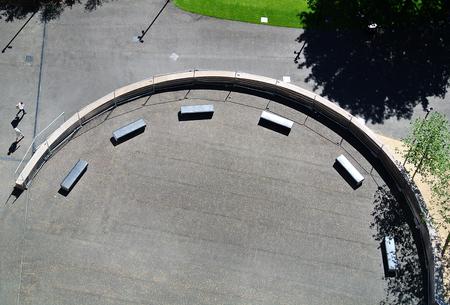 Aerial view of circular square