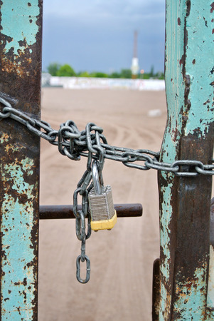 door closed by chain and padlock