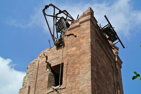 damaged roof: bell tower destroyed by the earthquake