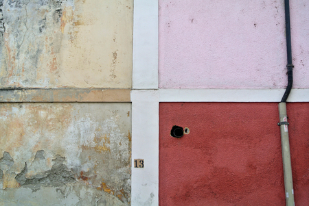 part of colored facade