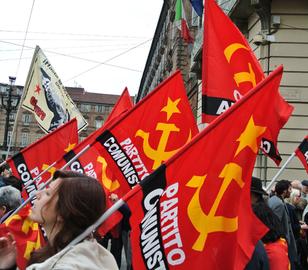 Turin, Italy - 1 May 2010: demonstration for Labor Day red flags and banners