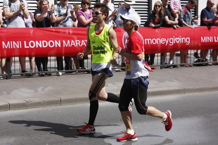 London,uk. 21 April 2018: Blind runner in the London Marathon