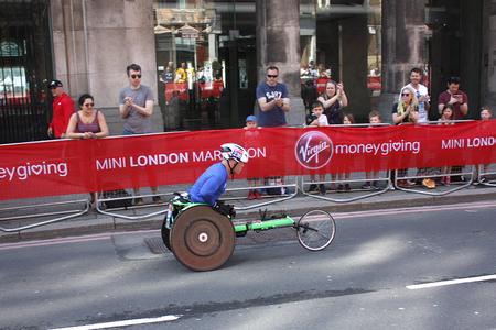 London,uk. 21 April 2018: Disabled runner of the London Marathon