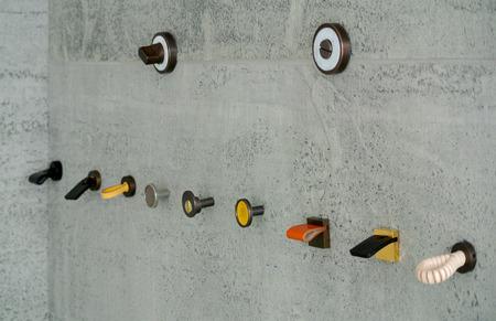 The metal door handles