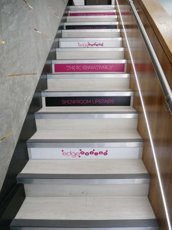 staircase with messages in the steps