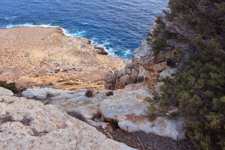 View from above, from Cape Cavo Greco (Capo Greco) to the coast and sea. Cyprus.