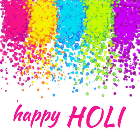 Happy Holi with colorful powder decoration.