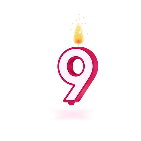 candle number nine holidays pink party yellow flame Illusztráció