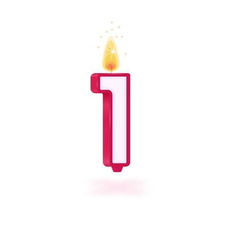 candle number one holidays pink party yellow flame