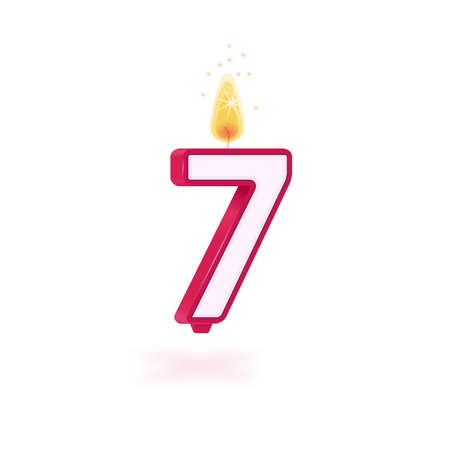 candle number seven holidays pink party yellow flame