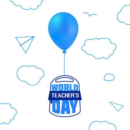 Teachers Day school backpack in balloon vector illustration