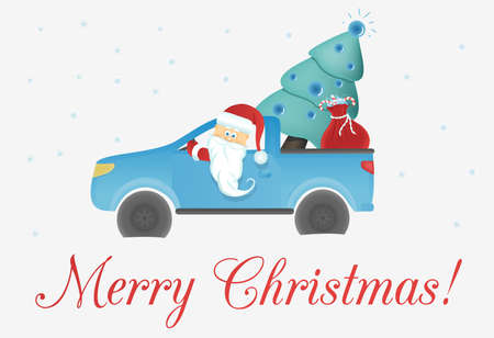 santa claus in the car with a Christmas tree gifts