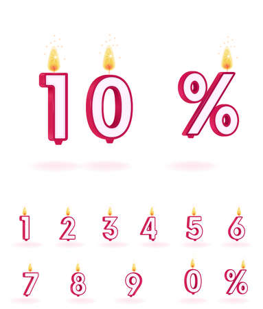 candle numbers vector illustrations flame birthday figure Çizim