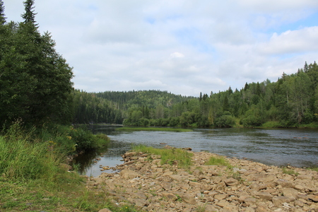 beautiful Ural landscape river View 스톡 콘텐츠