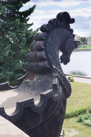 TVER - AUG 26  Horses head  part of the monument Afanasy Nikitin  and Volga river, August 26, Tver, Russia