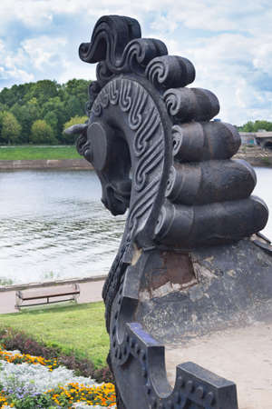 TVER - AUG 26  Horses head  part of the monument Afanasy Nikitin  and Volga river, Tver, Russia
