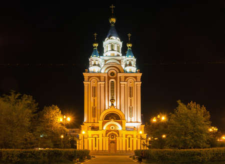 assumption: Grado-Khabarovsk Assumption Cathedral (Cathedral of the Dormition of the Mother of God) at night, Khabarovsk, Russia Stock Photo