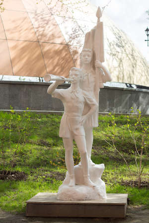 pioneers: KHABAROVSK, RUSSIA - MAY 7, 2014: Statue of the pioneers in the Alley of park sculpture. Alley opened in 2008 as part of the museum named after Grodekov