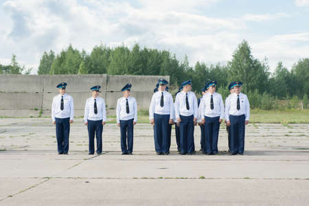 pilotage: TVER, RUSSIA - AUGUST 16, 2014: Officers in dress uniform at the airfield at the open day at the airport Migalovo Editorial