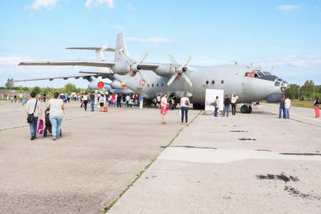 pilotage: TVER, RUSSIA - AUGUST 16, 2014: People watch the planes at the open day at the airport Migalovo Editorial