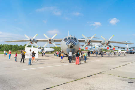 monoplane: TVER, RUSSIA - AUGUST 16, 2014: Airplane An-12 at the open day at the airport Migalovo. An-12 - cantilever monoplane of all-metal construction with top wing Editorial