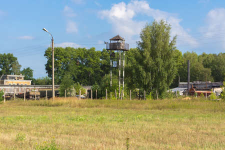 pilotage: TVER, RUSSIA - AUGUST 16, 2014: Observation tower on a sunny day at the open day at the airport Migalovo