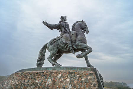 empress: BALTIYSK, KALININGRAD REGION, RUSSIA - OCT 11, 2014: Monument to Empress Elizabeth by the sculptor G. Frangulyan opened in 2004 to commemorate the victory of Russian arms during the reign of Empress Editorial