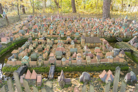 maquette: SVETLOGORSK, KALININGRAD REGION, RUSSIA - OCTOBER 13, 2014: City in miniature - the medieval layout of Koenigsberg first half of the 16th century from more than five hundred clay houses Editorial