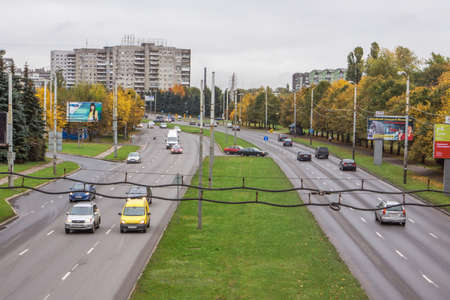 arteries: KALININGRAD, RUSSIA - OCTOBER 15, 2014: Moskovsky Prospekt, the view from the elevated bridge. Prospect - one of the main arteries of the city Editorial