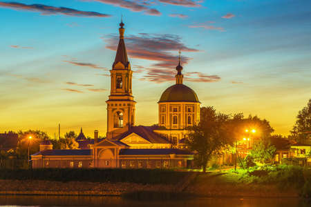 by catherine: Catherine female monastery on the bank the Volga at night in Tver, Russia Stock Photo