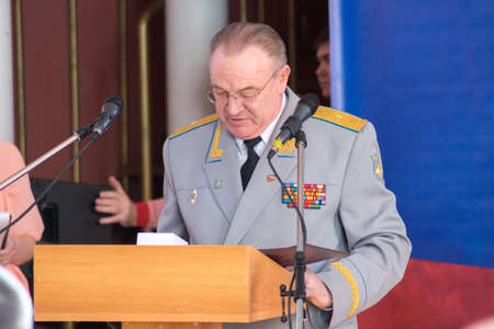 major force: TVER, RUSSIA - MARCH 27, 2015: General-Major at the celebration of the Day of internal troops in the house of culture Himvolokno