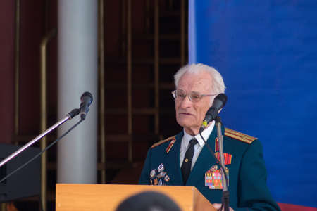 troops: TVER, RUSSIA - MARCH 27, 2015: Veteran of the Internal Troops at the celebration of the Day of internal troops in the house of culture Himvolokno