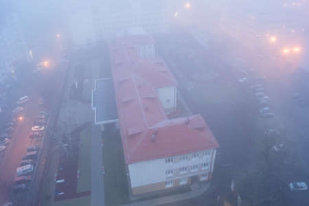 particulates: Urban Landscape in the foggy morning