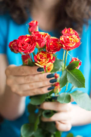arm bouquet: Bouquet red and yellow roses with stems in female hands Stock Photo