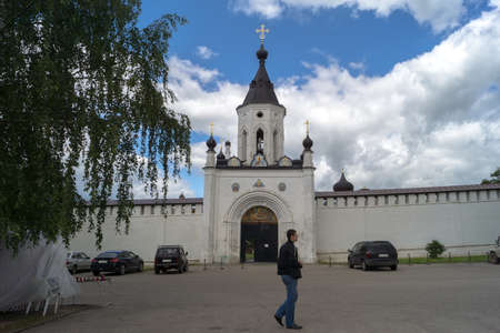 historica: STARICA, TVER REGION, RUSSIA - JUNE, 13, 2016:  The entrance to the Christian Holy Assumption  male monastery in Starica Editorial