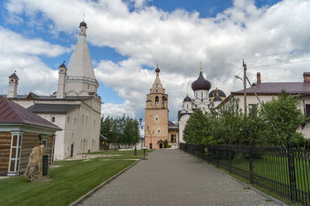 historica: STARICA, TVER REGION,  RUSSIA - JUNE, 13, 2016: Courtyard of the Holy Assumption  male monastery in Starica