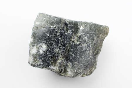 Raw black Labradorite on a white background.