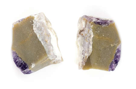 Raw fluorite on white background. Stock Photo